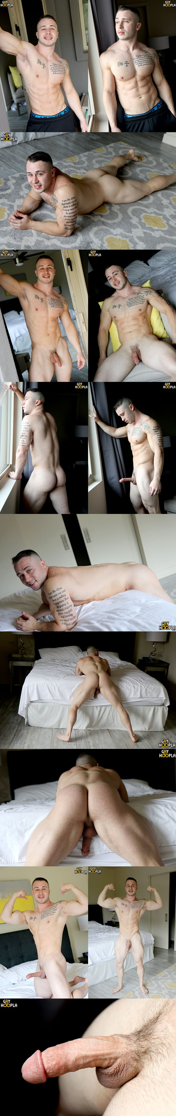 Hot muscle stud Dom Knight works out and jerks off at Gayhoopla