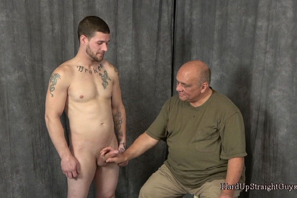 Straight construction worker Chris jerks off while being dildo fucked in Nervous and Embarrassed Chris at Hardupstraightguys