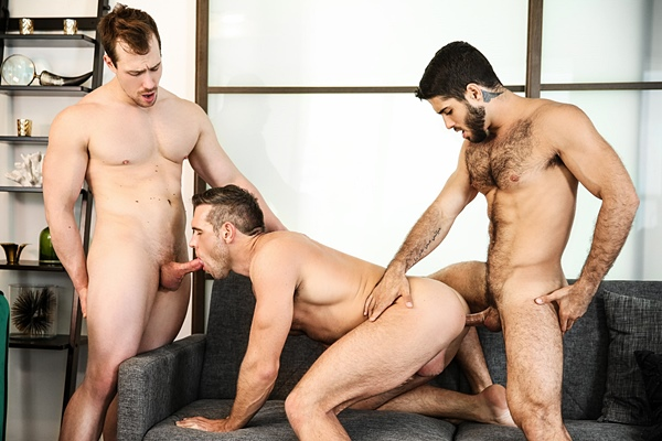 Diego Sans fucks Alex Mecum and Blake Hunter in a threeway in Couples Counselling Part 2 at Drillmyhole