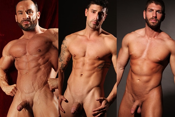 Rugged straight muscle hunks Erik, Nikko and Zack jerk off at Paragonmen