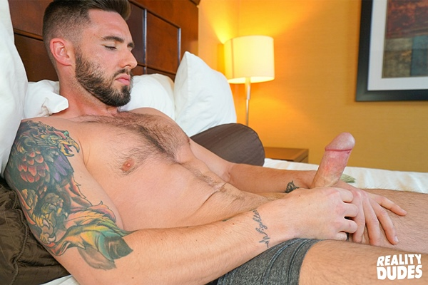 The cameraman fucks rugged newcomer Blaze Burton's tight ass at Realitydudes