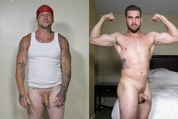 Hot straight muscle hunks Donnie and Payton jerk off at Theguysite