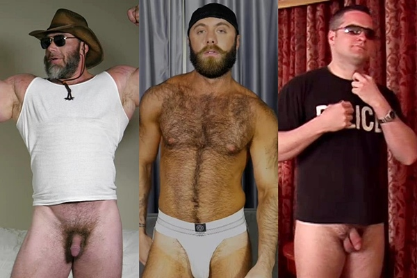 Hot hairy muscle hunk Slick Rick, Teddy Bear and Xander jerk off at Theguysite