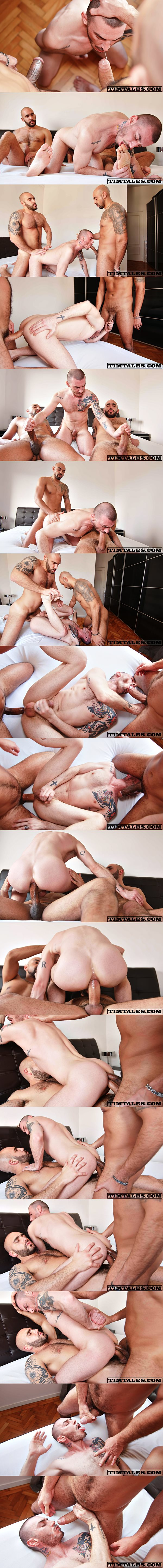 Hung top Adam Sahar and Francisco Sants double fuck Geo Dovek bareback at Timtales 02