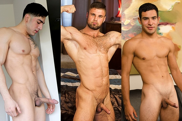 Straight muscle jock Diego Cruz, Leo Lombar and Miguel jerk off