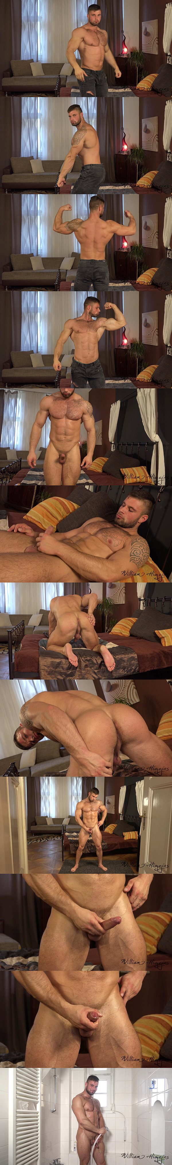 Hairy straight muscle hunk Leo Lombar jerks off at Williamhiggins