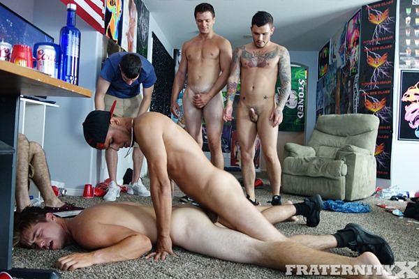 Hot frat dude Seth, Bentley, Carter gangbang breed Dean in Smoke Dat Bitch at Fraternityx