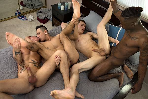 Miller Axton barebacks Hoss Kado, Mateo Vice and Vincent O'Reilly in That Orgy Though at Guysinsweatpants