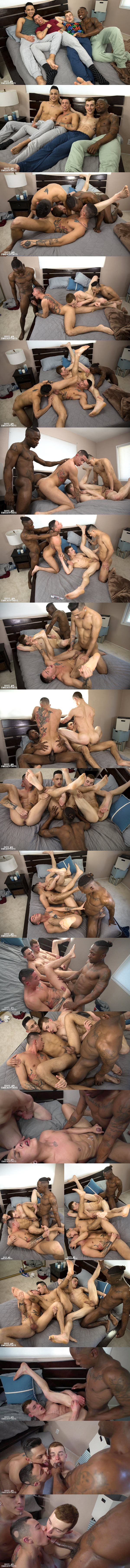 Miller Axton barebacks Hoss Kado, Mateo Vice and Vincent O'Reilly in That Orgy Though at Guysinsweatpants 02