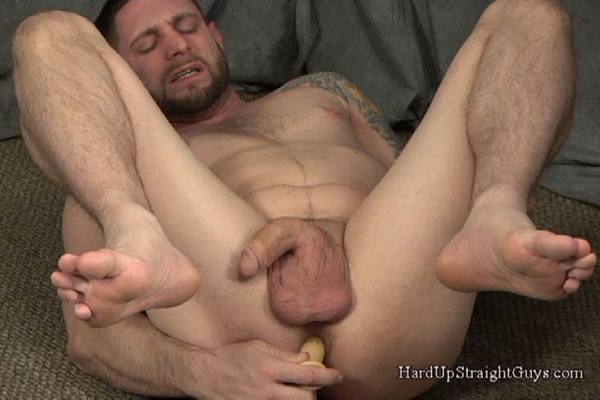 Hung Cocky straight guy Jay Rising dildo fucks the cum out of himself at Hardupstraightguys