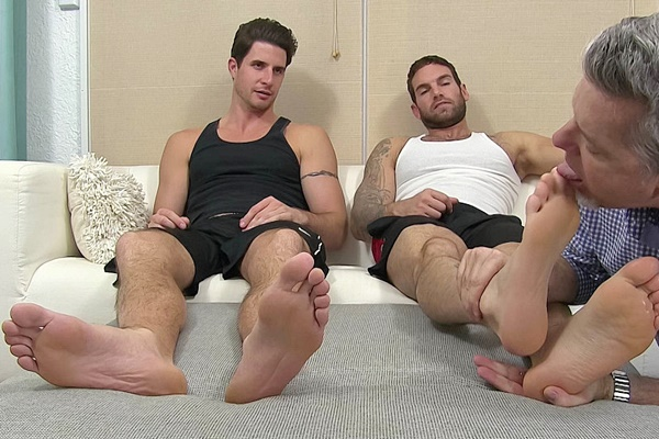 Handsome straight hunk Chase Lachance and Sergey get foot worshiped at Myfriendsfeet