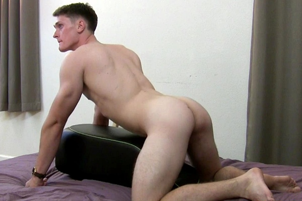 Fit straight jock Jared Collins fucks the sex toy at Redhotstraightboys