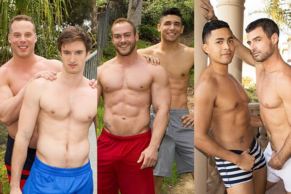 Jakob, Brock and Daniel bareback Jack, Joe and Asher at Seancody