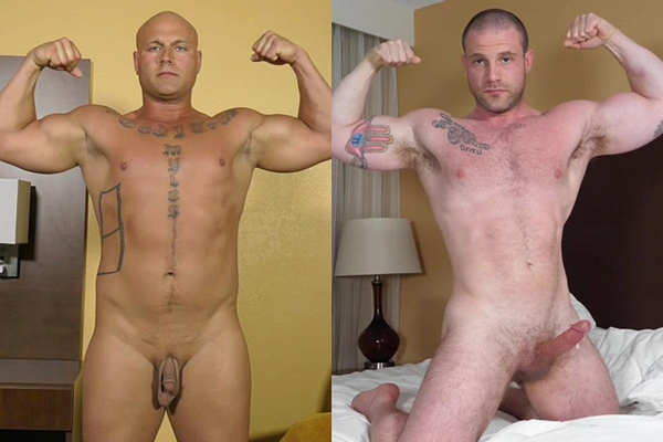 Muscular straight hunks Drake and Jim West jerk off at Theguysite