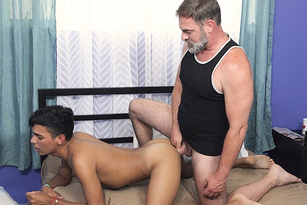 Macho daddy Kristofer Weston (aka President Faust) barebacks a young latino boy in The Exchange Student Morning Routine at Familydick