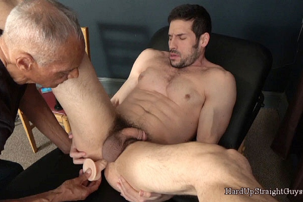 Masculine Italian hunk Greg (aka Leo Giamani) finger and dildo fucked at Hardupstraightguys