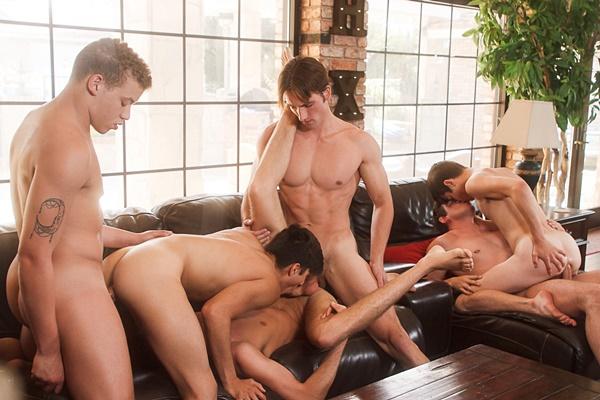 Josh Brady, Joey Mills, Corbin Colby, Cameron Parks, Luke Wilder and Angel Rivera have a raw orgy in Splash at Helixstudios
