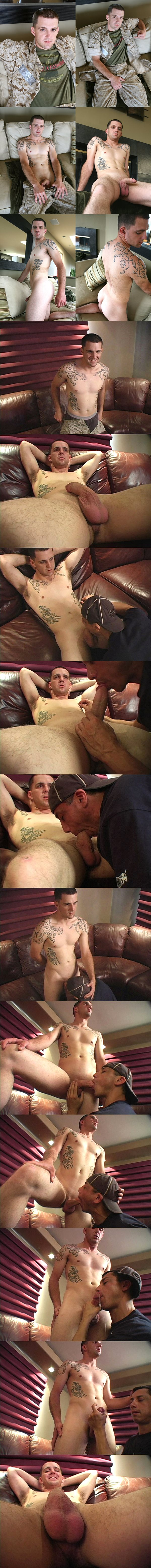 Handsome tattooed straight Marine Cal sucked and jerked off at Militaryclassified 02
