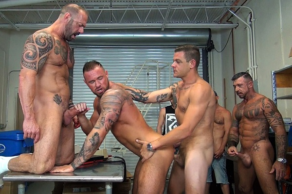 Ray Dalton, Matt Stevens, Deviant Otter, Cam Christou, Chandler Scott, Jace Chambers, Vic Rocco and Jack Dixon gangbang breed muscle stud Michael Roman at Rawfuckclub