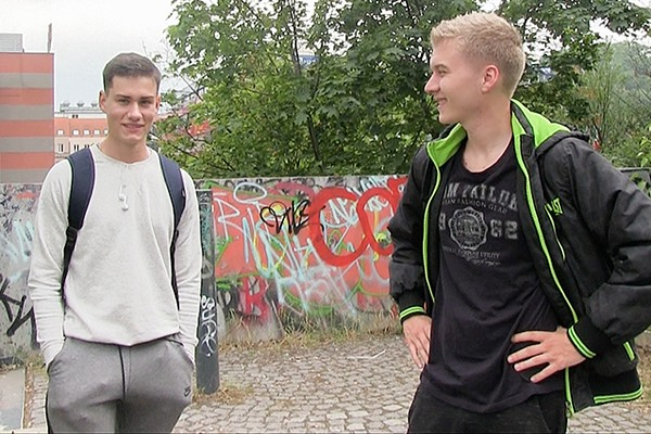 The cameraman and a blond dude bareback a handsome athletic straight jock in Czech Hunter 358 at Czechhunter
