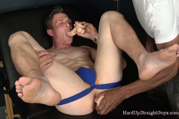 Hot straight muscle jock Romeo gets groped and dildo fucked before he jerks off at Hardupstraightguys