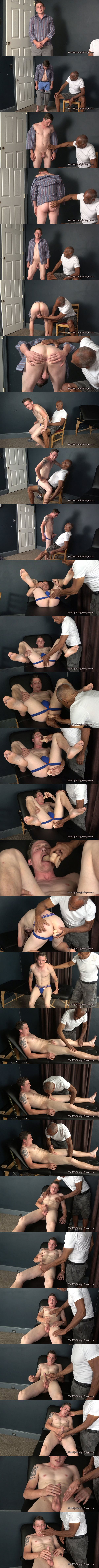 Hot straight muscle jock Romeo gets groped and dildo fucked before he jerks off at Hardupstraightguys 01