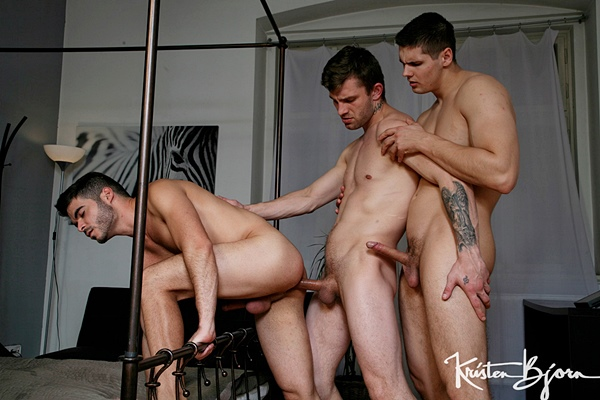 Tomas Fuk barebacks muscle hunk Tonny Scott and Nikol Monak in a raw threeway at Kristenbjorn