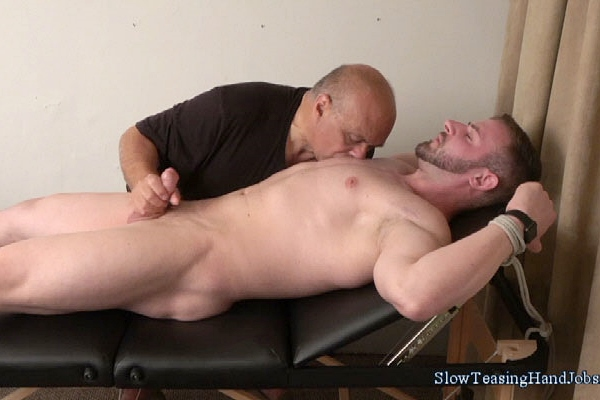 Handsome straight personal trainer Anthony slowly jerked off in Muscle Man Stroked at Slowteasinghandjobs