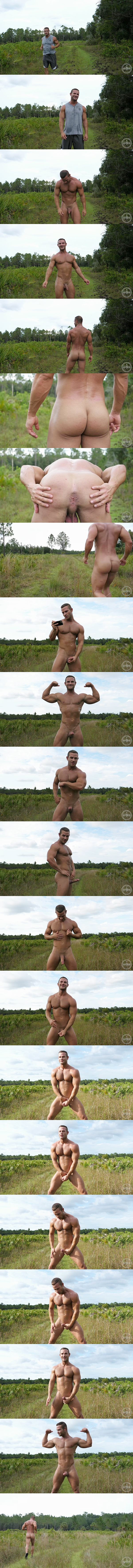 Muscle runner, beefcake Kevin gets naked and jerks off outdoors at Theguysite 01