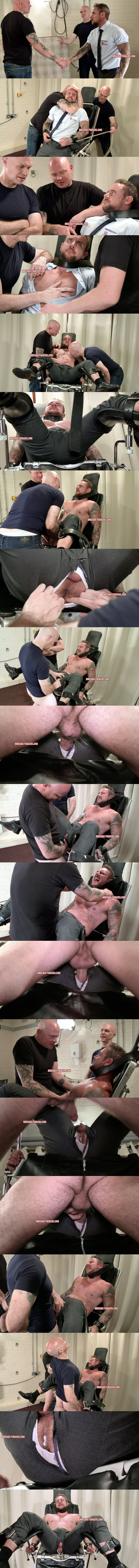 Masculine straight hunk Ian gets his virgin ass popped up by creepy masters Adrian and Dave at Breederfuckers 02