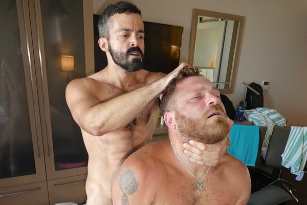 Cole and Hunter bareback and breed Riley Mitchel in Wake Up and Fuck Me at Maverickmen