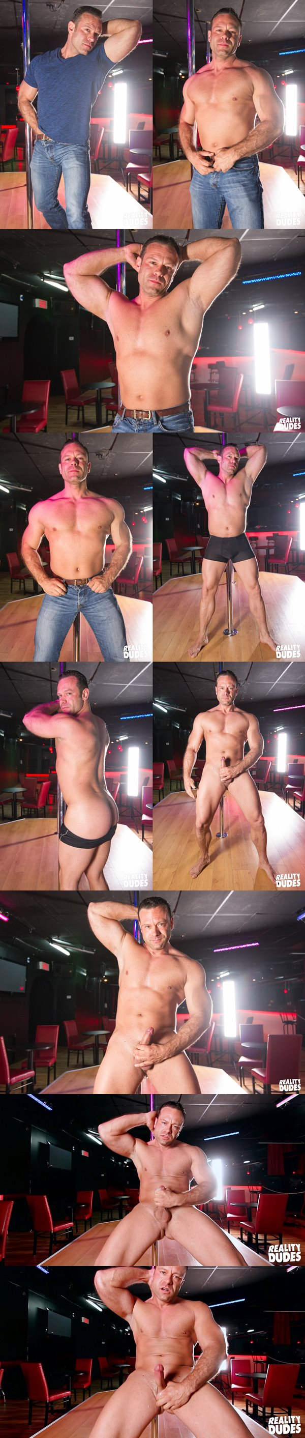 Chiseled muscle hunk Darcy wanks off in Strip Club at Realitydudes