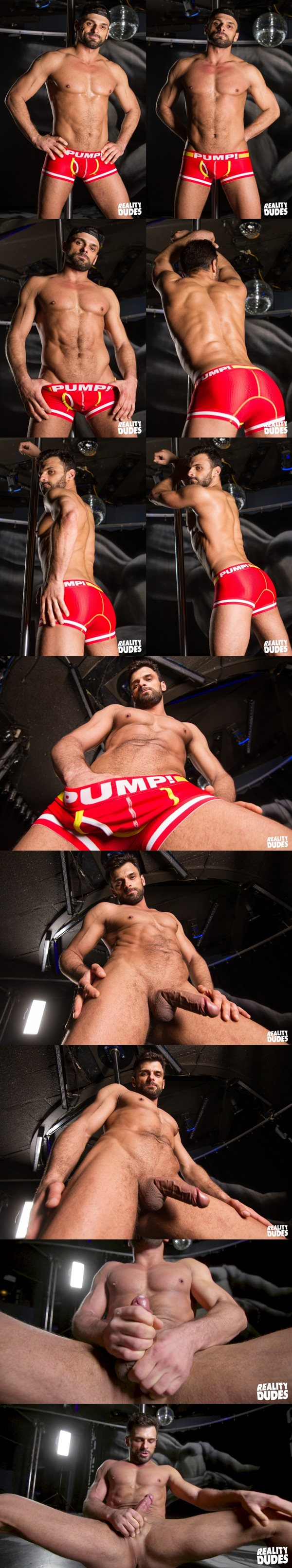 Sexy bearded stud Jeremy has a naked pole dance before jerking off in Strip Club at Realitydudes
