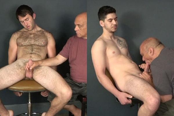 Hairy muscle hunk Brad and tattooed straight jock Duke slowly edged at Slowteasinghandjobs