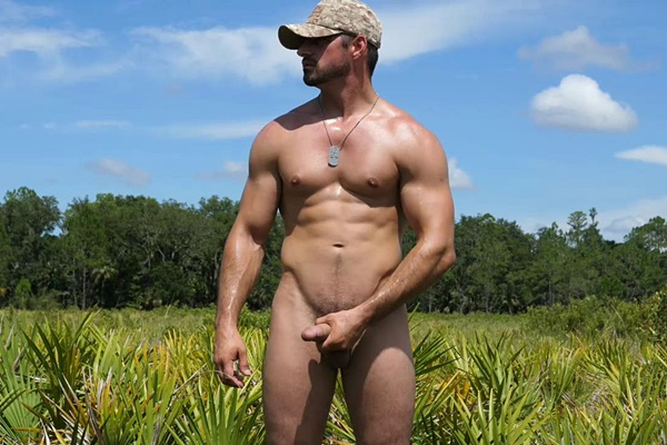 Masculine USMC Jason have a naked run in the woods and jerks off in Big Timber In The Woods at Theguysite