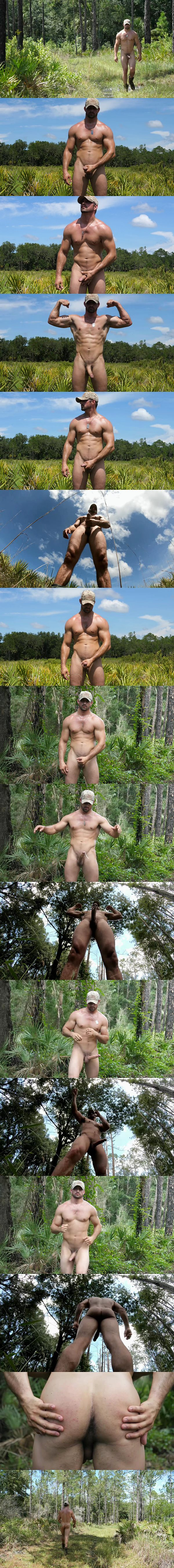 Masculine USMC Jason have a naked run in the woods and jerks off in Big Timber In The Woods at Theguysite 01