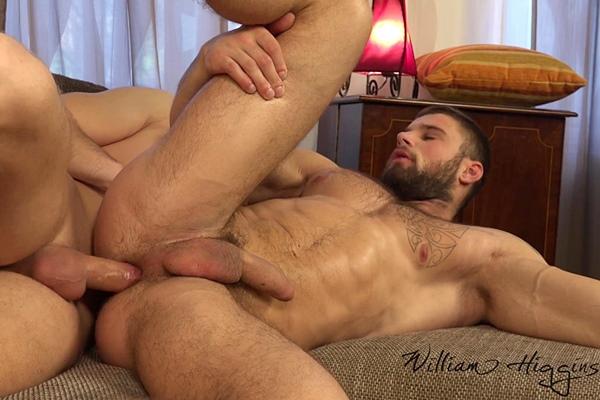 Martin Hovor barebacks sexy fuzzy muscle hunk Leo Lombar at Williamhiggins