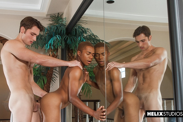 Fit blond muscle jock Luke Wilder barebacks Marcell Tykes in an interracial scene at Helixstudios
