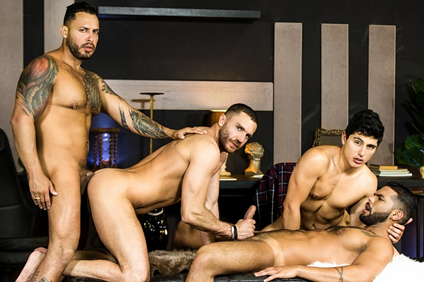 Power top Viktor Rom fucks Emir Boscatto, Ken Summers and Lucas Fox in a fourway in Telenovela Part 4 at Drillmyhole