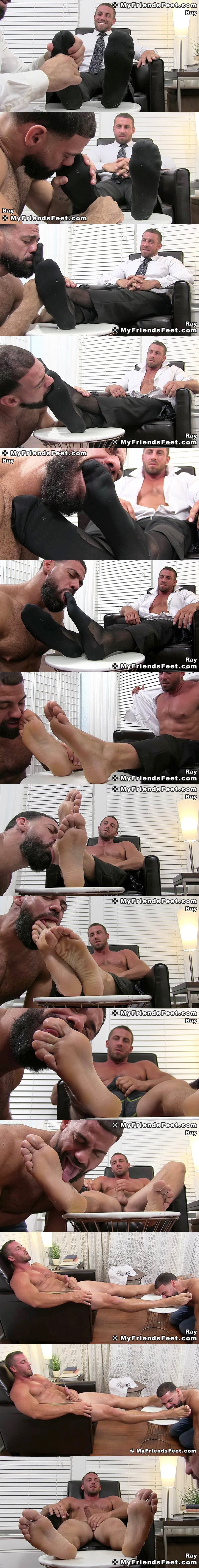Businessman Ray (aka Derek Jones) cums while being foot worshiped by Ricky Larkin at Myfriendsfeet 02