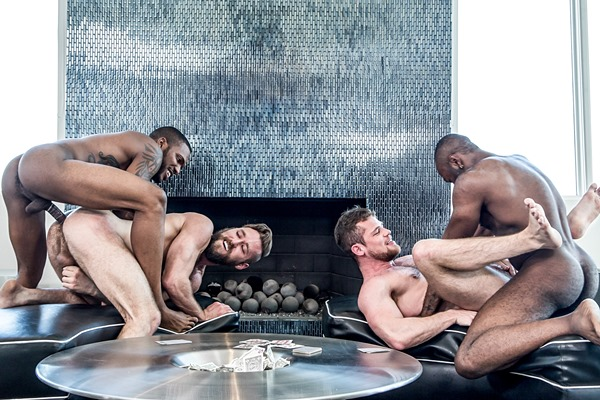 Noah Donovan and Aaron Reese fuck Ziggy Banks and Kurtis Wolfe in an interracial foursome at Noirmale