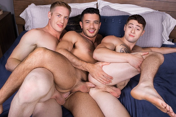 Hung blond muscle stud Jax barebacks and breeds Manny and Lane at Seancody