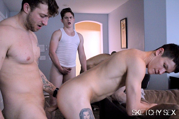 Ari Nucci, Jayden Black, Nicholas Ryder, Ricky Shields and Tom Hunks gangbang Jae G and Tyler Cody in Dripping Hole at Sketchysex