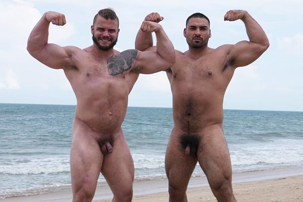 Masculine straight beefcake Jesse James barebacks inked muscle bound Daxx Carter at Theguysite