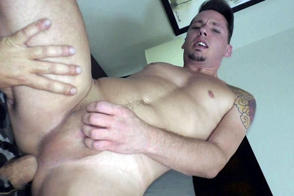 The house manager barebacks new resident Trayce Travis in his bottoming debut in Manhandled Fuck Hole at Boyshalfwayhouse