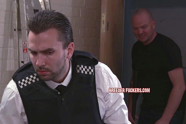 Masculine straight security guard Bryce gagged, flogged, electro shocked, dildo fucked, sphincter stretched and foreskin clamped at Breederfuckers