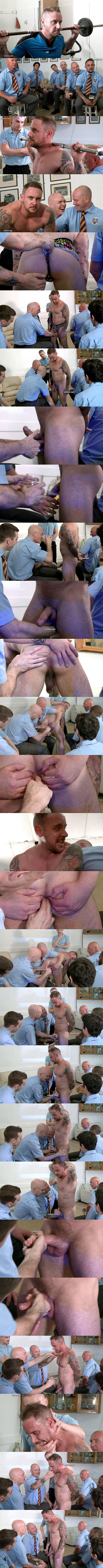 Hot straight inked muscle hunk Leo disciplined, finger fucked and jerked off in Crowncastle Rugby Club at Cmnm 01