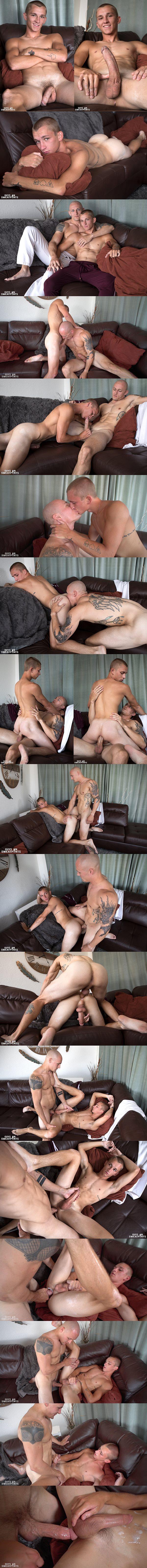 Chiseled muscle stud Trevor Laster barebacks and creampies cute hung newcomer Theo Brady at Guysinsweatpants 02