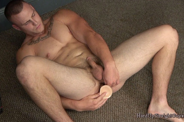 Proud straight muscle man Jason degraded and dildo fucked before he jerks off at Hardupstraightguys
