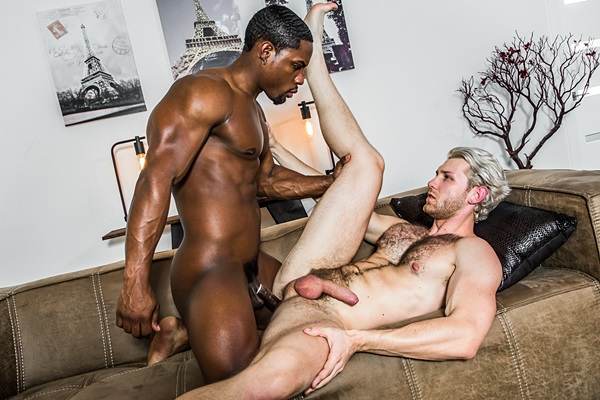 Chiseled black muscle hunk DeAngelo Jackson fucks Jacob Peterson in an interracial scene at Noirmale